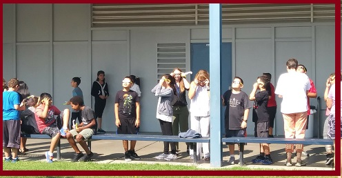 Students and Staff watching Solar Eclipse